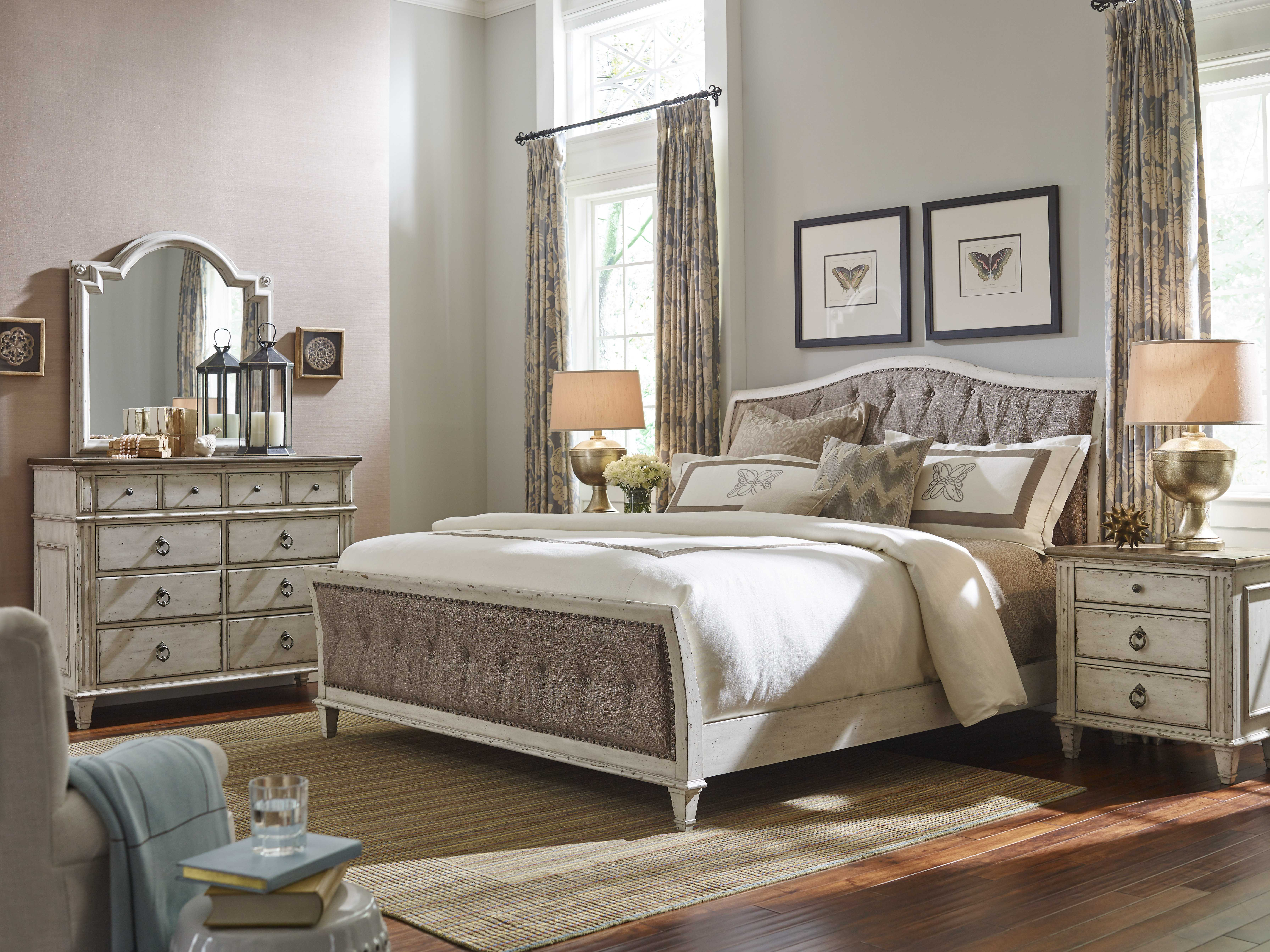 American Drew Southbury White Parchment King Size Panel Bed Ad513316r
