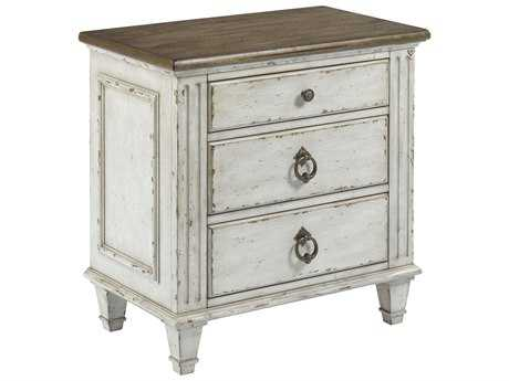 American Drew Southbury White Parchment with Warm Fossil on Top 28''L x 17''W Rectangular Nightstand