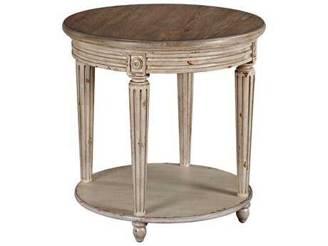 American Drew Southbury Fossil Top / Parchment Base 26'' x 26'' Round End Table