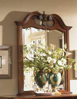 American Drew Cherry Grove 49 x 50 Classic Antique Cherry Dresser Mirror