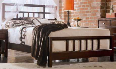 American Drew Tribecca Root Beer Color Slat Queen Bed
