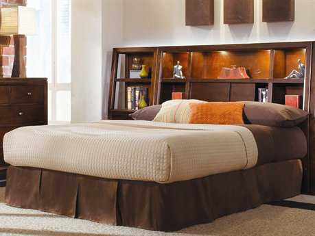 American Drew Tribecca Root Beer Color Bookcase Queen Bed