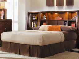 American Drew Tribecca Root Beer Color Bookcase Queen Bed