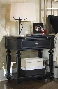 American Drew Camden Dark Black 26 x 19 Leg Nightstand