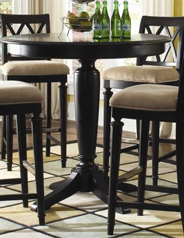 American Drew Camden Dark Black Bar Height 42 Round Pedestal Table