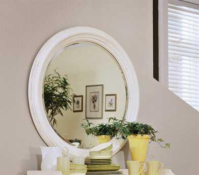 American Drew Camden Buttermilk 39 Round White Wall Mirror