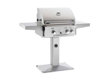 L Series Post Mount 24'' BBQ Grill with Rotisserie and Back Burner