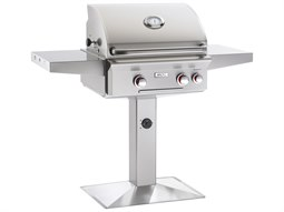 T Series  Post Mount 24'' BBQ Grill with Rotisserie and Back Burner