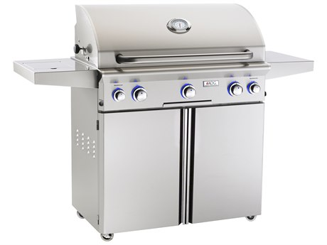 AOG L Series Portable 36'' On Cart  BBQ Grill with Rotisserie Back Burner & Side Burner PatioLiving