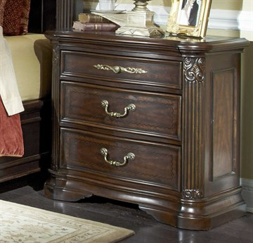 Aico Furniture Michael Amini Villagio Hazelnut Three-Drawer Nightstand