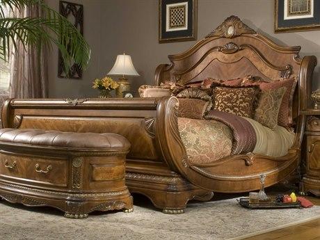 Aico Furniture Michael Amini Cortina Honey Walnut California King Size Sleigh Bed