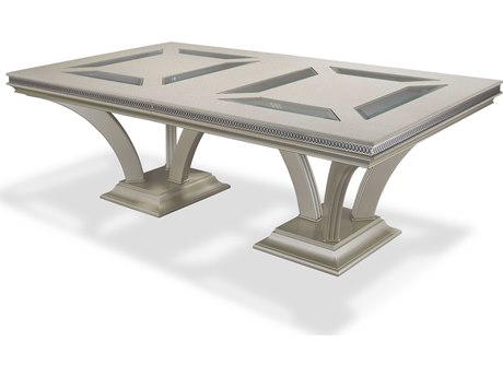 Aico Furniture Michael Amini Hollywood Swank Pearl Caviar 92-140''W x 51''D Rectangular Dining Table AICNT0300211