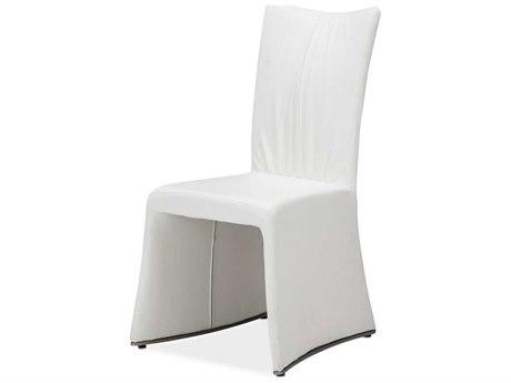 Aico Furniture Michael Amini Matrix White Luxury Vinyl Dining Side Chair