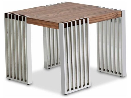 Aico Furniture Michael Amini Newport Warm Walnut / Stainless Steel 24'' Wide Square End Table