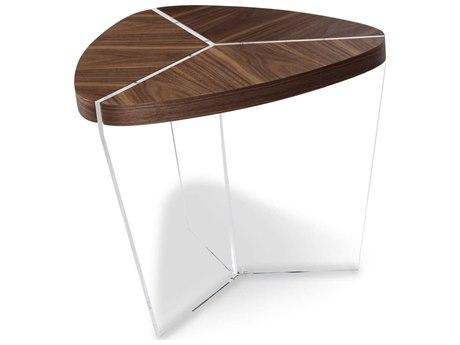 Aico Furniture Michael Amini Sector Walnut / Acrylic 24''W x 24''D End Table