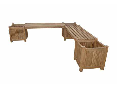 Anderson Teak Planter Bench (Sold as Two Benches with Three Planter Boxes)