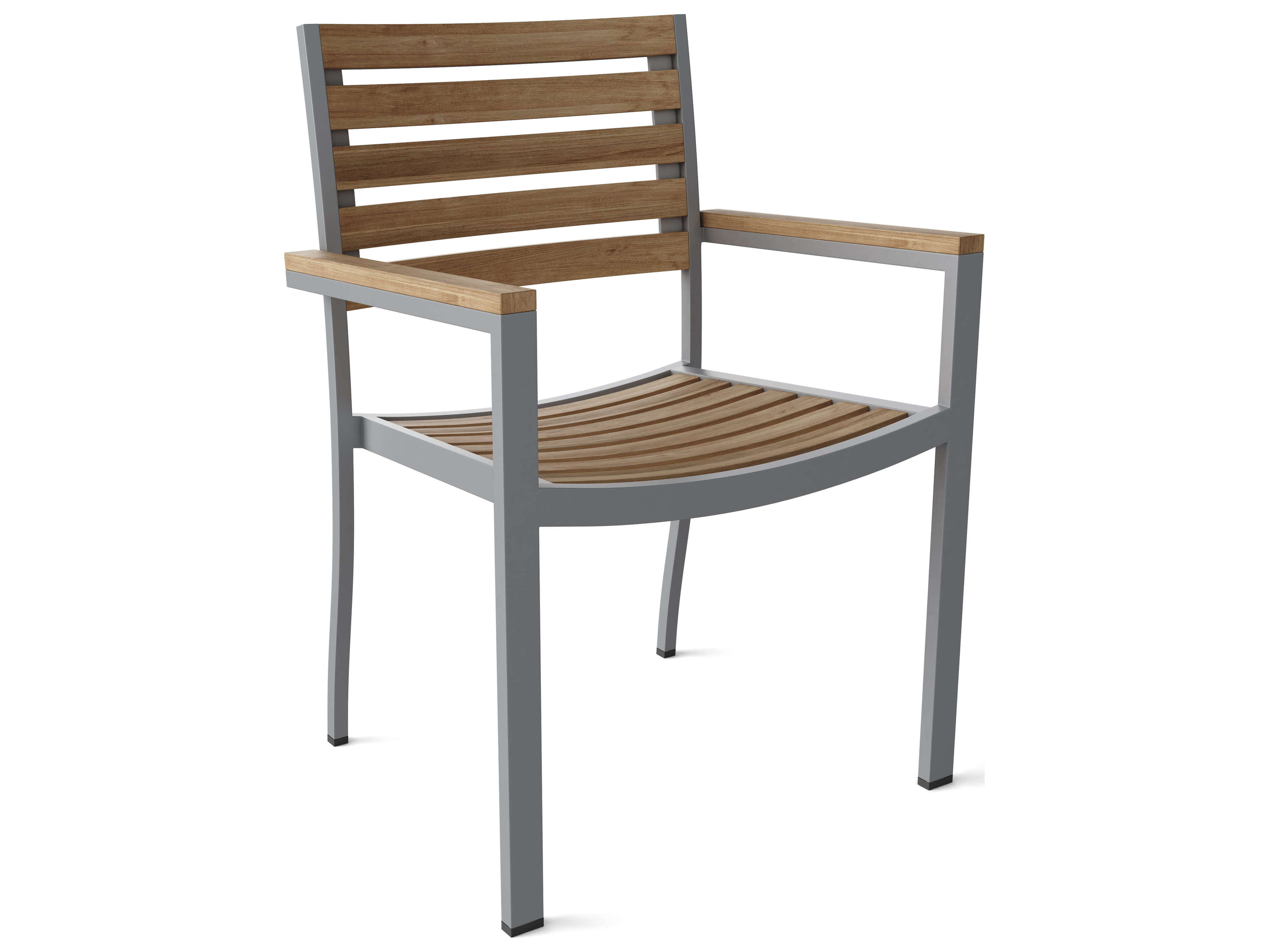 Anderson Teak Seville Aluminum Stackable Dining Arm Chair Sold As 4 Chair Box