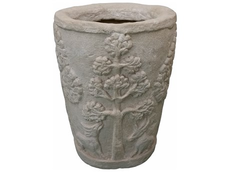 Anderson Teak Amazon Cast Limestone Round Planter