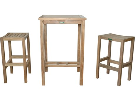Anderson Teak Bahama Avalon 3-Piece Square Bar Set PatioLiving