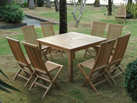 Anderson Teak Windsor Classic Chair 9-Piece Folding Dining Set