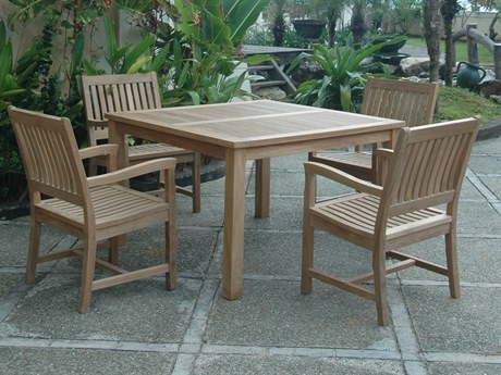 Anderson Teak Windsor Rialto Side Chair 5-Piece Dining Table Set