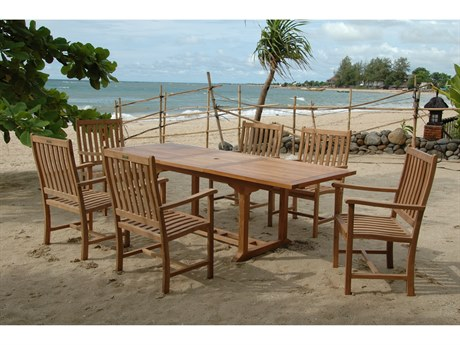 Anderson Teak Bahama Wilshire Armchair 7-Piece Extension Dining Set