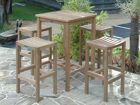 Anderson Teak Bahama Montego 5-Piece Square Bar Set PatioLiving