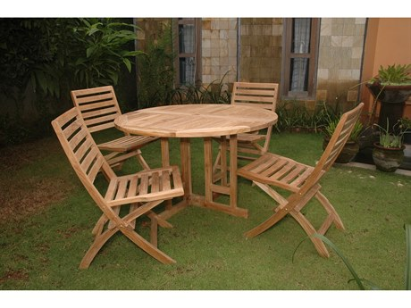 Anderson Teak Andrew Butterfly Folding 5-Piece Dining Set PatioLiving