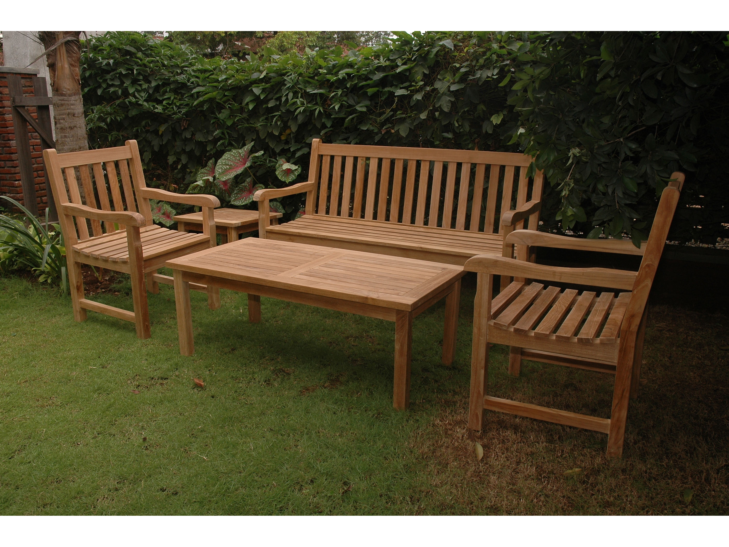 Anderson teak classic lounge set set 44 for Hardwood garden furniture