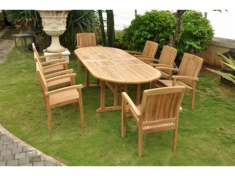 Anderson Teak Sahara Stackable 9-Piece Oval Dining Set