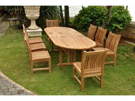 Anderson Teak Sahara Dining Side Chair 9-Piece Oval Dining Set