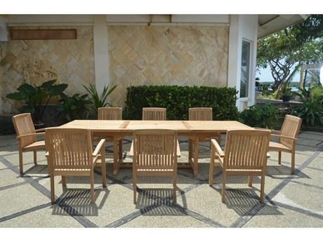 Anderson Teak Bahama Stackable Sahara 9-Piece Rectangular Dining Set A PatioLiving