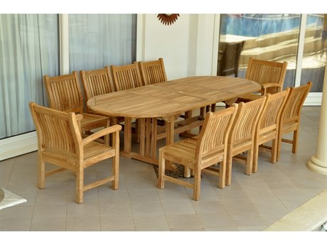 Anderson Teak Sahara Dining Side Chair 11-Piece Oval Dining Set