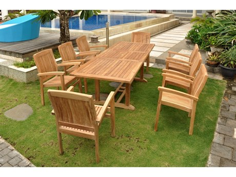 Anderson Teak Bahama Stackable Sahara 9-Piece Rectangular Dining Set B
