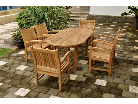 Anderson Teak Bahama Sahara 7-Piece 78'' Oval Dining Set PatioLiving