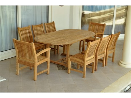 Anderson Teak Bahama Sahara Side Chair 7-Piece 87'' Oval Dining Set