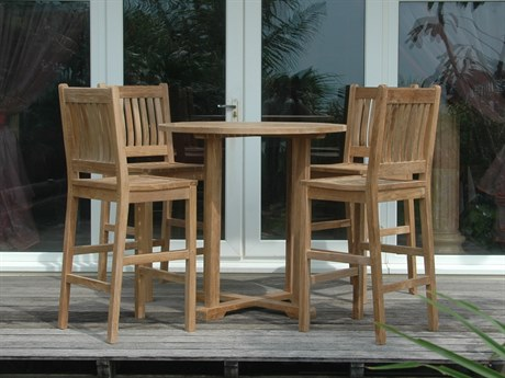Anderson Teak Bahama Avalon 5-Piece Round Bar Set PatioLiving
