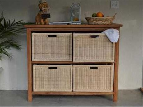 Anderson Teak Towel Console with 2 Shelves Table