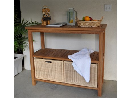 Anderson Teak Towel Console W/ 2 Shelves Table