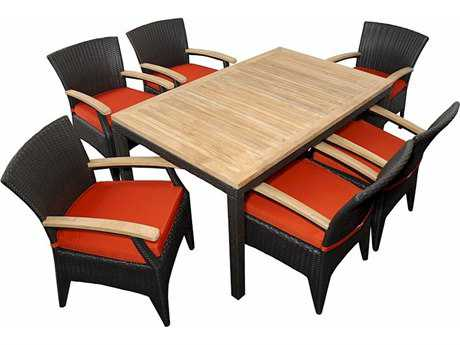 Anderson Teak Bellagio Wicker Dining Set AKSR016TB