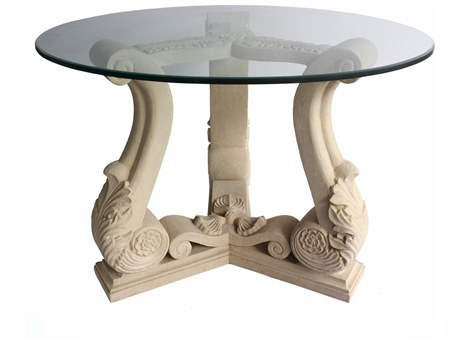 Anderson Teak Fleur Cast Limestone 42'' Wide Round Dining Table / Entry Hallway Table