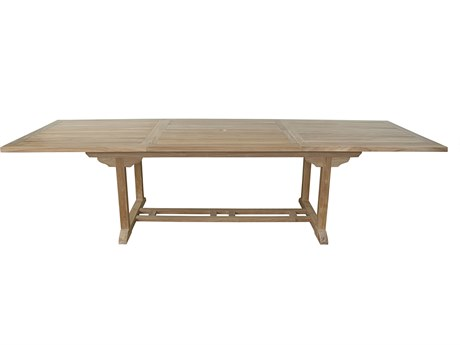 Anderson Teak Bahama 10-Foot Natural 77-118''W x 39''D Rectangular Extension Dining Table AKTBX010R