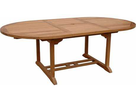 Anderson Teak Bahama Natural 63-87''W x 47''D Oval Extension Dining Table AKTBX087VT