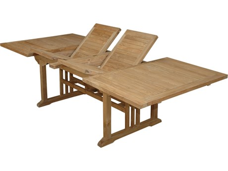 Anderson Teak Sahara Natural 74-106''W x 43''D Rectangular Double Extension Dining Table AKTBX106RD