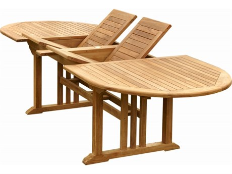 Anderson Teak Sahara Natural 74-106''W x 43''D Oval Double Extension Dining Table AKTBX106VD