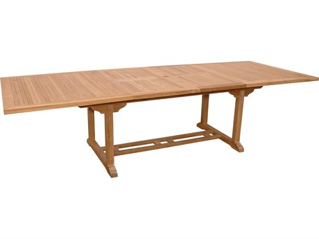 Anderson Teak Valencia Natural 79-117''W x 43''D Rectangular Dining Table with Double Extensions AKTBX117RD