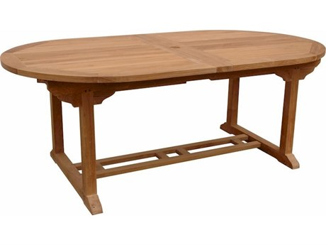 Anderson Teak Bahama Natural 77-117''W x 43''D Oval Dining Table with Double Extensions AKTBX117VD