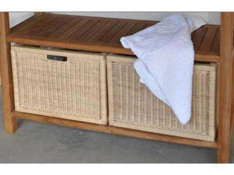 Anderson Teak Wicker Basket for Towel Console (Sold as a Pair)