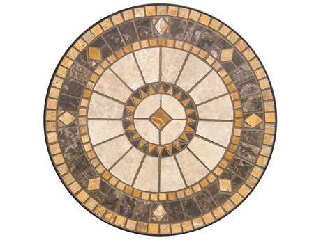 Alfresco Home Compass Wrought Iron  20 Round Marble Mosaic Side Table