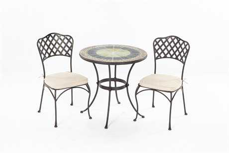 Alfresco Home Ponte Wrought Iron Mosaic 3 Piece Bistro Set